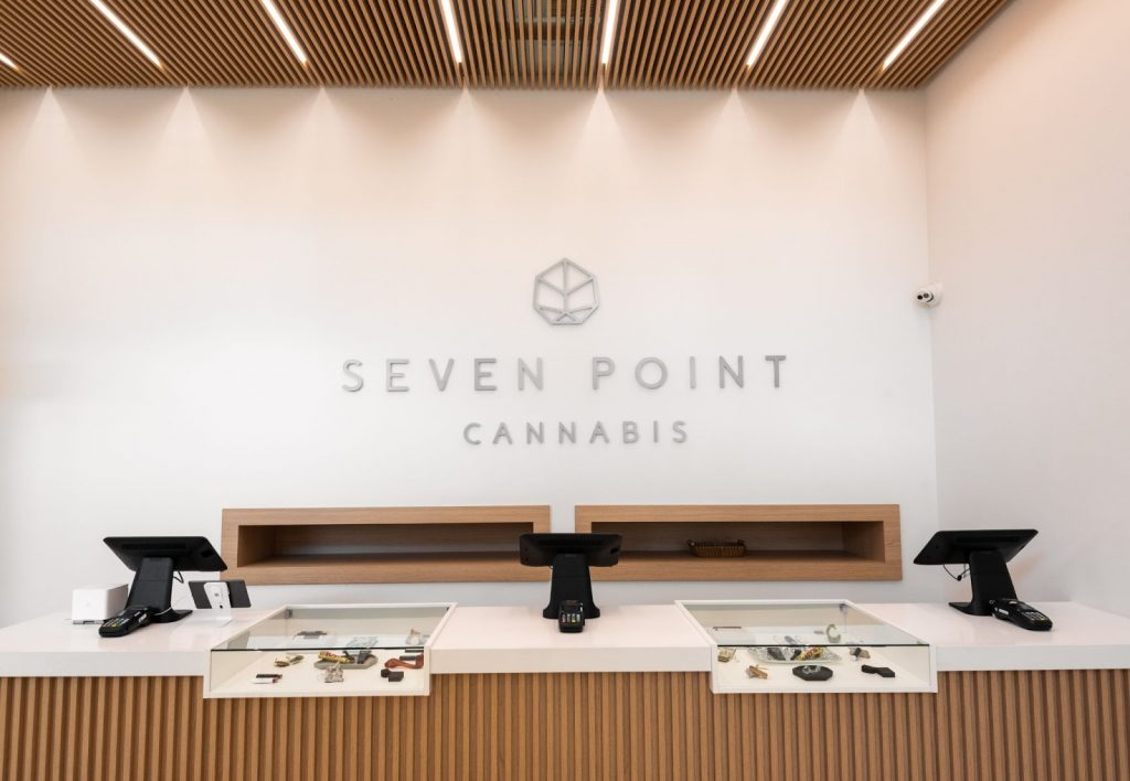 The interior of Seven Point Cannabis dispensary in High Park